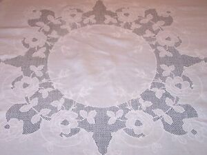 Exceptional Vintage Whitework Linen Tablecloth 68 Sq Rose Motif Mosaic Work