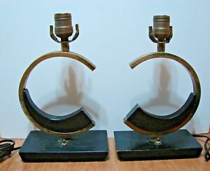 Pair Of Vintage Mid Century Modern Brass Wood Table Lamps Very Rare