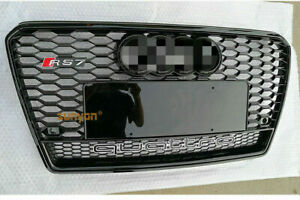 For Audi A7 S7 Grille Rs7 Style W Quattro Black Ring 2011 2014 Front Mesh Grill