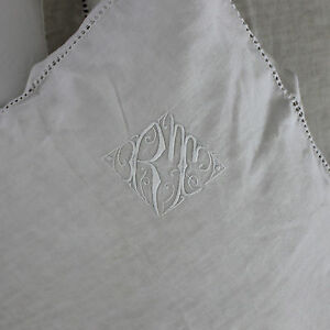 Pair Lovely French Monogrammed Linen European Pillow Shams