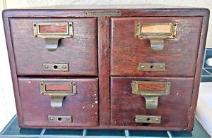Antique Oak Library Bureau Sole Makers Dovetailed 4 Drawer Card Cabinet 13x14x9