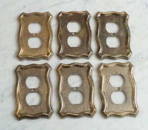 6 American Tack Howe 1968 70d Brass Tone Metal Outlet Switch Plate Covers