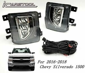 Led Clear Lens Fog Light Switch Wire Harness For 2016 2018 Chevy Silverado 1500