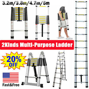 12 5ft Folding Step Aluminum Telescoping Collapsible Roof Climbing Ladder En131