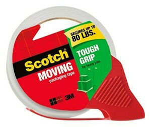 Scotch Tough Grip Packing Tape 1 88 x22 2 Yd 6 Rolls With Dispensers
