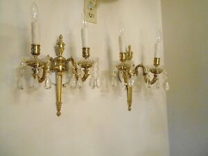 Antique Brass Crystal Prism Bobesche Electric Sconces 13 Tall 2