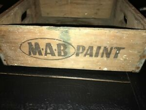 Antique Mab Paint Old Wooden Box Crate Vintage Decorator 15 1 4 X 15 1 2