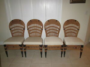 Bamboo Rattan Dining Chairs Upholstered Seat Set Of Four