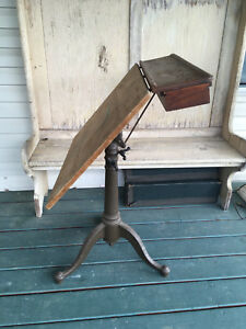 Antique Washburn Shops Drafting Table With Cast Iron Legs Pedestal