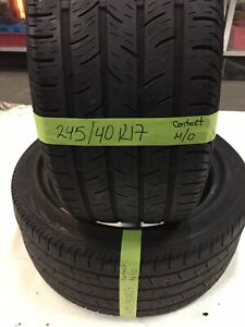 2 Used Tires 245 40 17 Continental Contiprocontact With 60 Tread Life Oem Mo