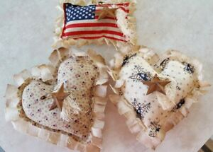 Primitive Americana Hearts Flag Bowl Filler Ornies Accents 3pcs
