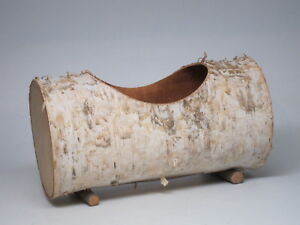 Vtg Bentwood Birch Bark Container Box Planter Log Basket Handcrafted Wood Rustic