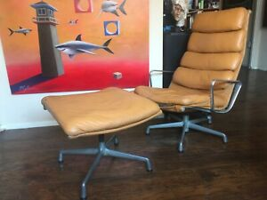 Herman Miller Eames Soft Pad Aluminum Group Lounge Chair Ottoman Midcentury