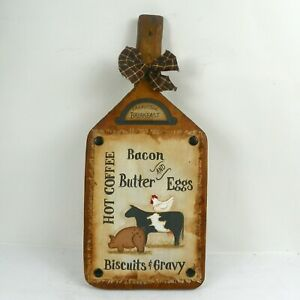 Lg Vintage Cutting Board Sign Hand Painted Primitive Farmhouse Decor Rjpe