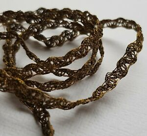 Vintage Gold Metallic Lace Trim Silk Thread Accent 1 4 Wide Drk Patina French