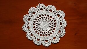 Crochet Cotton Doily Coaster 11cm Natural Circle And Lace