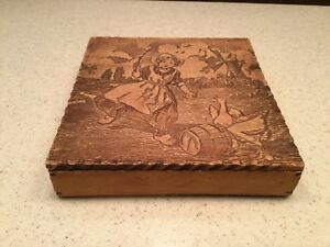 Vintage Old Pyrography Burnt Wood Dresser Box Dutch Girl Windmill Goose Geese