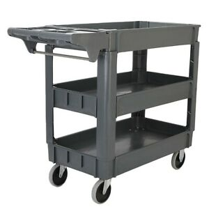 3 Layers Standard Plastic Service Cart Office Shop Mobile Tool Storage Station