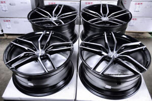 20 5x112 Staggered Black Rims Fits Mercedes Benz Gl450 Cl550 S550 5 Lug Wheels