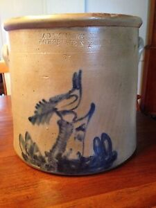 Antique Stoneware Crock Cobalt Bird On Stump Decorated Adamcaire Pougheepsie N Y
