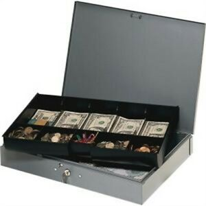 Heavy Gauge Steel Cash Box With Tray