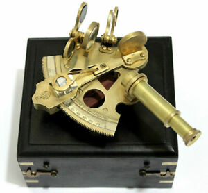 Antique Brass Marine Sextant 3 Inch Vintage Working W Wooden Box