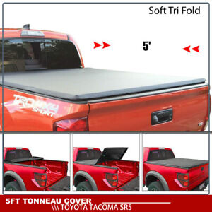 Soft Tri Fold Tonneau Cover For 16 2018 Toyota Tacoma Sr5 5ft 60 Truck Bed