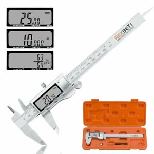 Digital Caliper 6 Inch Measuring Tool Stainless Steel Inch mm fractions Electro