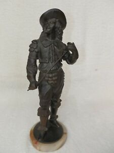 Antique Metal Statue A Part Of Ansonia Clock About 1 Tall Onyx Round Base