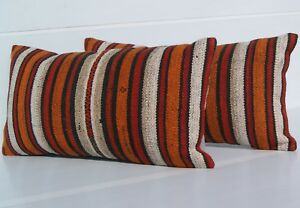 Designer Pillow Turkish Pillow Rectangle Wool Hand Woven Kilim Area Rugs 24 X12