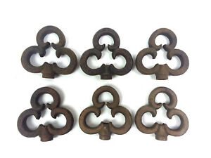 6 Antique Cast Iron Finial Three Leaf Clover Shamrock Fence Decoration Toppers B