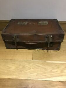 Vintage Large Brown Leather Look Suitcase Luggage Vulbank Chest Box Trunk