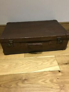 Vintage Very Large Brown Leather Look Suitcase Luggage Chest Box Trunk