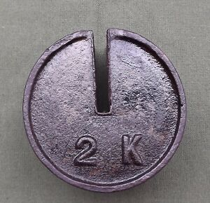 Antique 2 Kilo Cast Iron Hanging Platform Stacking Scale Counter Weight