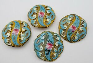 Antique Pierced French Enamel Gilt Buttons Set Of 4 Large 1 3 16