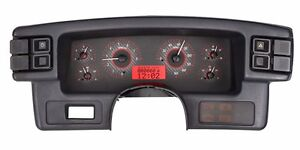 1987 89 Ford Mustang Dakota Digital Carbon Fiber Red Vhx Analog Gauge Kit