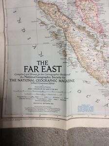 National Geographic Society Map Of Asia The Far East 1952 China Japan Vintage