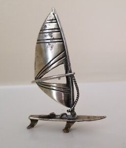Vintage Solid Silver Italian Made Windsurf Miniature Stamped