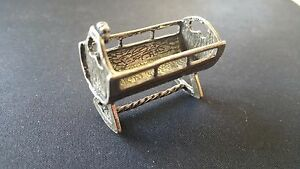Vintage Solid Silver Baby Crib Miniature Dollhouse Stampe Made In Italy