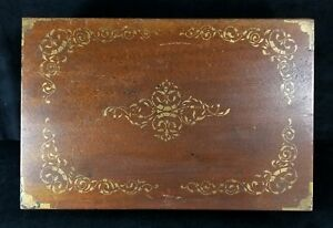 Antique Early 1900s Lap Desk Shell Gold Paint Decoration On Lid 14x9 2x4 5 Vfine