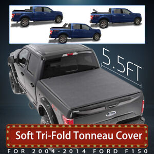 Tonneau Cover Soft Tri Fold For Ford F150 Pickup Truck Crew Cab 5 5 Short Bed