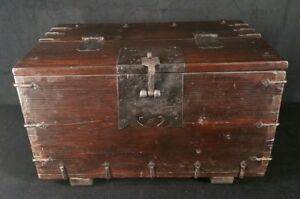 Vintage Hvy Dovetailed Wood Box W Hand Forged Hardware 22 5 X14 X13 2 Inch Vfine