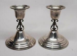 Unique Matthews Co Sterling Silver Candle Holders Candlesticks Weighted 5