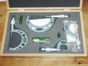Mitutoyo 0 4 Inch Micrometer Set No 103 930 W Case Carbide Faces