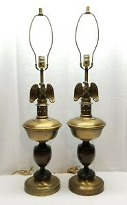 Pair Of Vintage Brass Wood Eagle Table Desk Lamps Light Federal Patriotic Metal