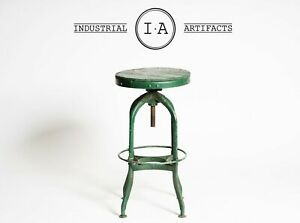 American Industrial Antique Toledo Uhl Steel Machinist Stool