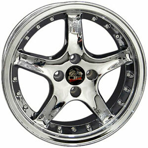 17 Chrome W Rivets Wheel Mustang Cobra R Deep Dish Style Rim 17x8