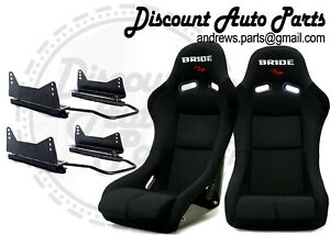 Bride Vios Iii 3 Low Max Black Pair Bucket Racing Seats W Long Sid