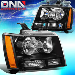 For 2007 2014 Chevy Suburban Tahoe Black Housing Amber Side Headlight Lamp Set