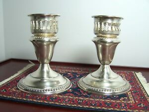 Antique Empire Sterling Silver Candlesticks With Adapters Pair Of 2 Weighted